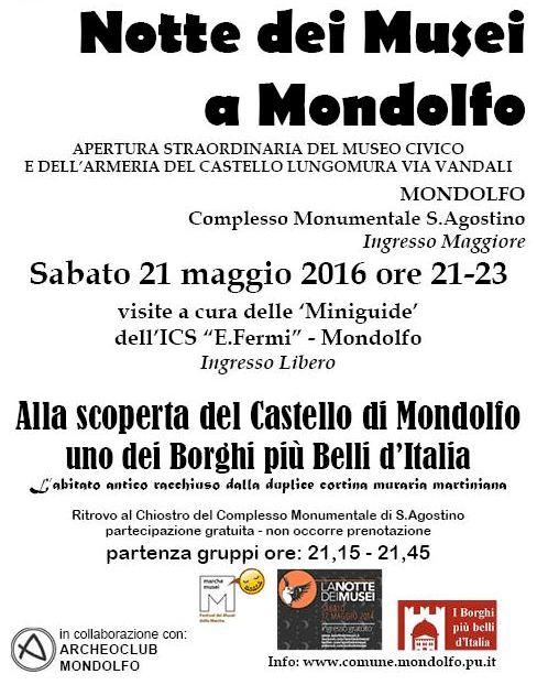 Locandina Notte Musei Mondolfo 2016